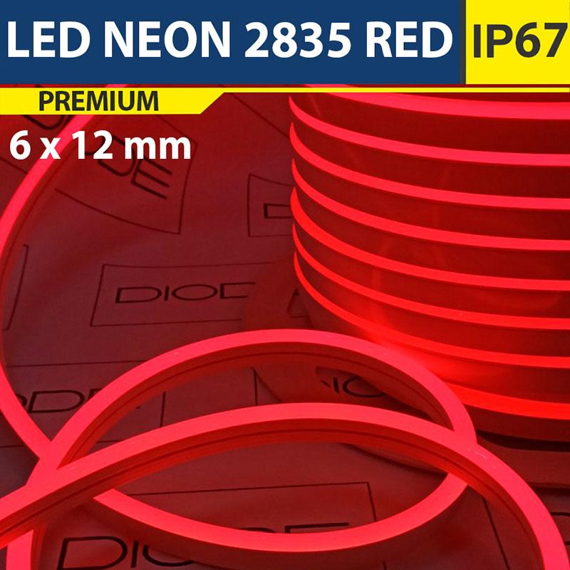 Светодиодный неон 6х12 мм Красный