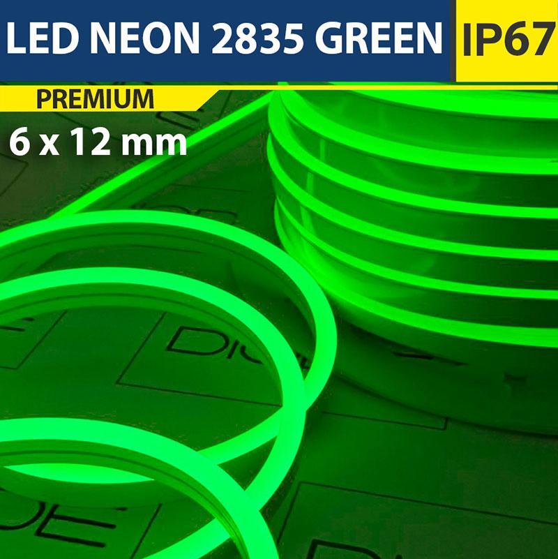 Светодиодный неон 6х12 мм Зеленый